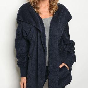 Jackets & Blazers - Navy Sherpa Jacket